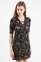 TOPSHOP Women's size 8 Black Forest Floral Print Tie-up Tunic Dress lace up 91