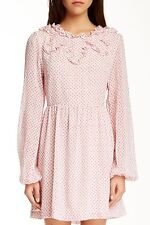 NWT Free People Pink Ruffle Bohemian Butterfly Spring Long Sleeved Dress Size 4