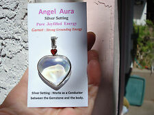 Angel Aura Quartz+Ruby Red Garnet Twin Heart Pend-Earth+Angel Energy-Great Gift