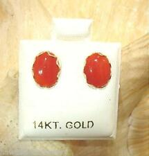 6X8MM GENUINE NATURAL OVAL RED CORAL SOLID 14K YELLOW GOLD POST STUD EARRINGS #2