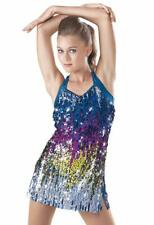 Dance Costume Small Adult Blue Sequin Dress Jazz Tap Solo Competition Weissman