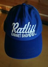 Vintage Hipster Trucker Hat •Ratlif Cabinet Shop• Blue SnapBack Cap Made in USA