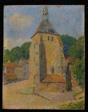 Ancienne huile / c: Paysage pointillisme France entourrage de Seurat Signac Luce
