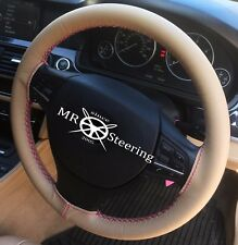 FOR 04-09 VAUXHALL ASTRA H BEIGE LEATHER STEERING WHEEL COVER HOT PINK DOUBLE ST