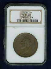 GREAT BRITAIN GEORGE IV  1826  1 PENNY COIN, UNCIRCULATED, CERTIFIED NGC MS64-BN