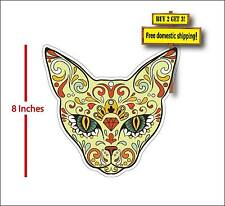 Cat Sugar Skull Dia De Los Muertos El Gato Day of the Dead Decal Sticker FLG44