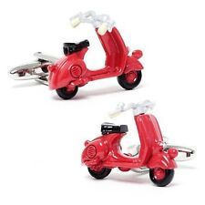 Red Scooter Vehicle Novelty Cufflinks + Free Box & Cleaner