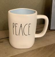 Rae Dunn - PEACE - LL Blue Interior Ceramic Coffee Mug