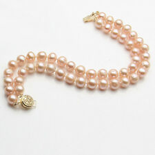 Fashion 7-8mm Real Pink Akoya Cultured Pearl Flower Clasp Women Bangle Bracelet