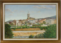 Mollie D. Poore - Framed Contemporary Oil, Sleepy Village in Spain