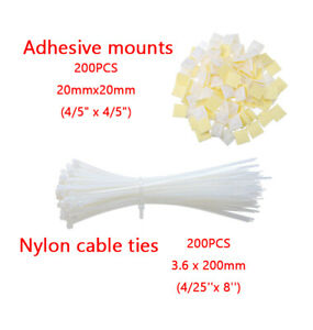 400 Pcs Cable Ties with Adhesive Base, Self Adhesive Cable Tie Base Holders