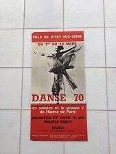 VINTAGE Francese Pubblicità Poster 1970 MAURICE BEJART l'opera DE PARIS Balletto