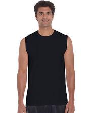 Gildan Men's Sleeveless T-Shirt Plain Basic Muscle Tee Adults sizes S-2XL