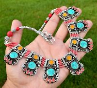 Nepal Tibetan Silver Bib Necklace Turquoise Nepalese Ethnic Red Coral Amber