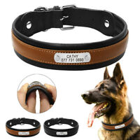 Personalised Dog Collar Large Dogs Collar Padded Real Leather Free Engraved M-XL