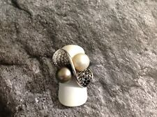 prächtiger Perl Ring - schwarze & weisse Diamanten 2,10 ct - 18 kt Weissgold