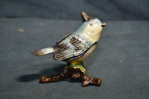 Vintage Enamel Blue Bird on Branch Trinket Holder