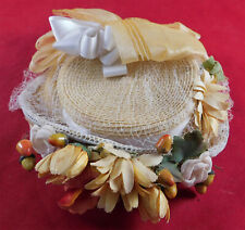 Vintage 1940s Yellow Straw Silk Ribbon Flowers Fascinator Child Size Small Hat