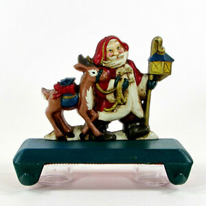 """Midwest Cannon Falls SANTA & REINDEER 6"""" Double Hook Stocking Hanger Cast Iron"""