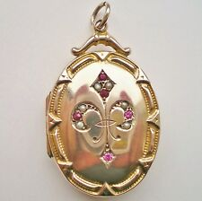 Fine Antique Victorian 9ct Gold 'B&F' Garnet & Pearl Photo Locket Pendant c1890