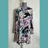 Jaase Women's Floral Print Long Sleeve Shift Dress | Size S | Rayon | Open Back