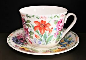 Roy Kirkham Breakfast Cup And Saucer 'Flowers Of The Month' Large Cup & Saucer