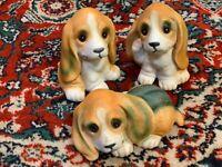 VINTAGE HOMCO BASSET HOUND DOG PUPPIES LOT SET 3 BISQUE FIGURINES TAIWAN 1407 EU
