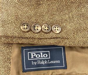 Polo Ralph Lauren CORNELIANI Silk Wool Tweed Herringbone 3/2 Roll Blazer Sz 40R