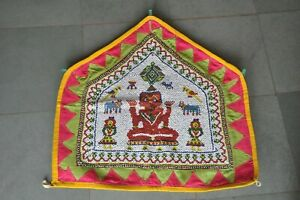 Vintage Unique Beaded & Patch Work Colorful Lord Ganesha Tribal Wall Hanging