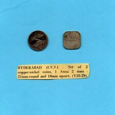 Hyderabad (I.N.S) Set of 2 Coins 1 Anna 2 Sizes 21mm Round & 18mm Square