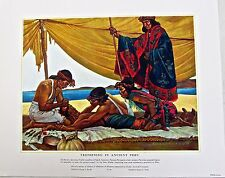 Medical Art-Trephining in Ancient Peru  Vintage 16x13 Offset Lithograph