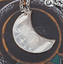 Lord of the Rings Rivendell Silver Moon Elven Pendant Necklace