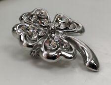 Four Leaf Clover Silver Badge St Patricks Day Irish Lucky Faux Diamond Shamrock