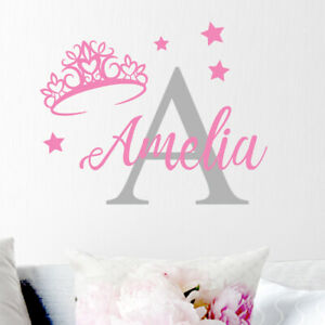 Personalised Girls Name Letter Princess Wall Art Sticker Initial Bedroom Decal