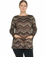 Susan Graver Weekend Womens Printed Ponte Pullover Tunic Large Neutral A344652