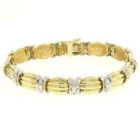 14K Two Tone Gold 1.35ctw Round Diamond Textured X O Oval Link Tennis Bracelet