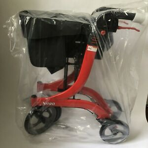Drive Medical NITRO Euro Style Adjustable Height Rollator Walker, Red - RTL10266
