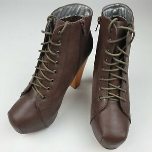 WOMENS LADIES LACE UP PLATFORM WOODEN BLOCK HIGH HEEL ANKLE BOOTS SIZE UK 6