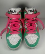 Rare Vintage Fila 90's Italia Women's High Top Sneakers Pink Teal White Size 10