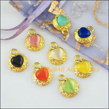 8Pcs Gold Plated Flower Heart Mixed Cat Eye Stone Charms Pendants 13x16mm