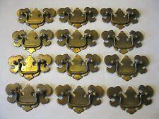 (12) Vintage Brass Finish Drawer Pulls / Handles - Original Screws Included