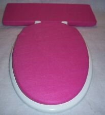 Solid Medium PINK fleece Elongated Toilet Seat Lid and Tank Lid Cover Set