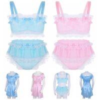 Men Sissy Lingerie Crossdress Nightwear Top Bra Brief Fancy Dress Underwear