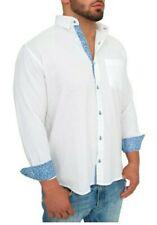 Giorgio Bellini Mens Portofino XL White Sky Blue Flip Cuffs Button Up Shirt $225