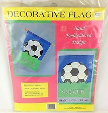 "Decorative Nylon Flag SOCCER Hand Embroidered Design Giant 28"" x 40"""