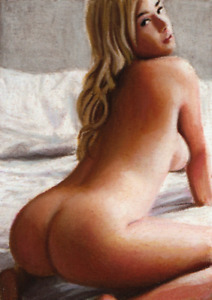 Original ACEO card - Pastel art - Nudes