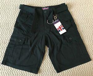 NWT Men's Revolution Dark Green Cotton Cargo Pocket Shorts w/ Belt SIZES 30-34