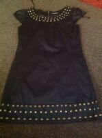 Fully Lined  black satin look beaded dress from kurt muller size 8