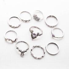 10Pcs/Set Retro Arrow Moon Midi Finger Knuckle Rings Boho Beauty Jewelry Gift