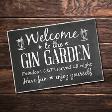Welcome To The Gin Garden Hanging Alcohol Wall Sign Garden Sign Friendship Gifts